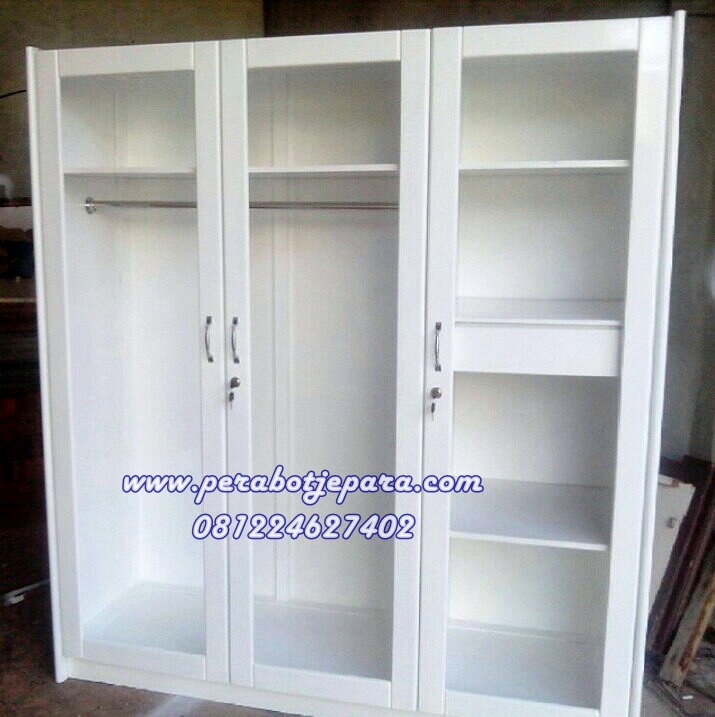 Lemari Pakaian 3 Pintu Kaca Transparan Perabot Jepara
