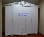 Lemari Baju 5 Pintu Ukiran Klasik Putih