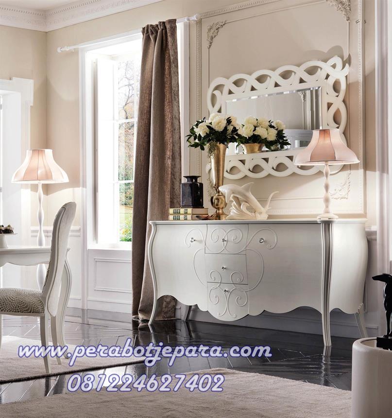Meja Konsul Lengkung Dengan Kaca Pigura Hias Klasik