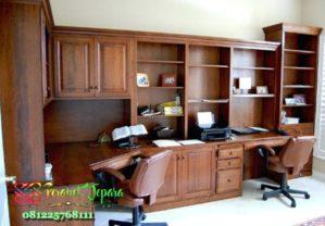 Set Furniture Meja Kantor Kayu Jati Model Meja Sudut