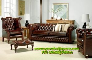 Kursi Tamu Sofa Leather Chesterfield Terbaru