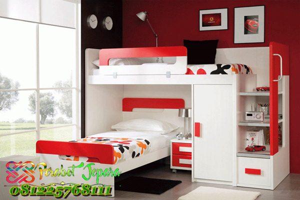 Tempat Tidur Tingkat Putih Merah Modern