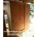 Lemari Pakaian Minimalis Pintu Sliding Kayu Jati Murah