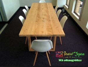Meja rapat kantor minimalis kayu jati jepara
