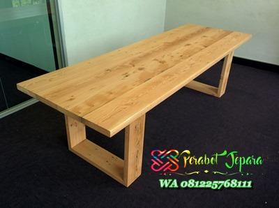 Model meja rapat kantor minimalis kayu jati jepara Terbaru