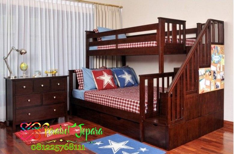 Jual Set Tempat Tidur Tingkat Kayu Jati