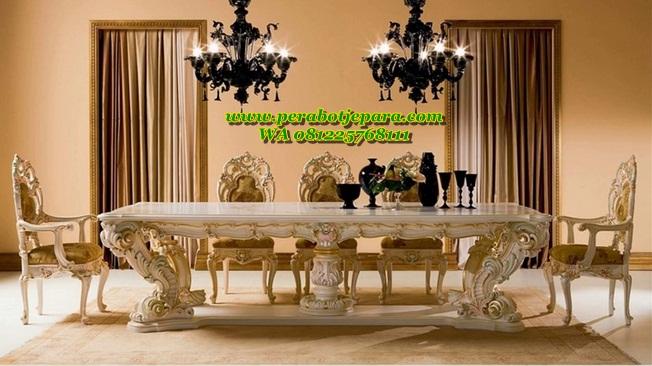 Set Kursi Makan Mewah Minerva Klasik Ukir Terbaru