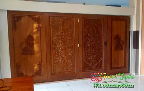 pintu lipat penyekat ruangan kayu jati