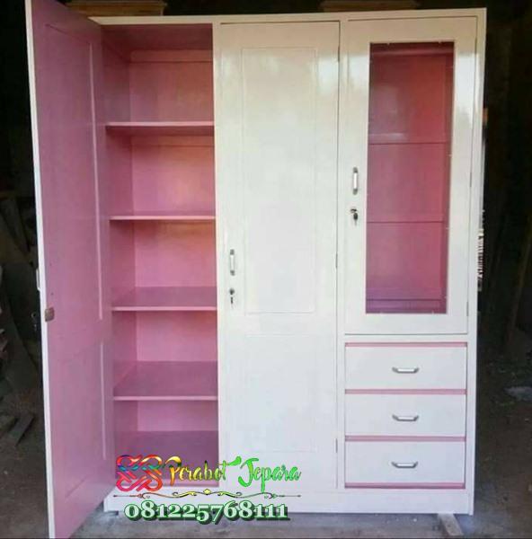 Lemari Pakaian Anak 3 Pintu Warna Pink Dan Putih Real Produk Lemari Anak